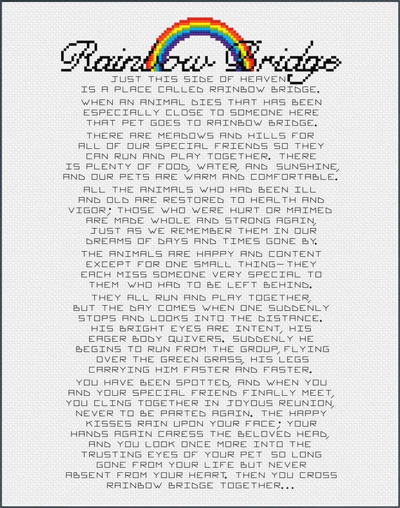 Rainbow Bridge Poem Essay Sentiment For Pet Loss Or Memorial Etsy