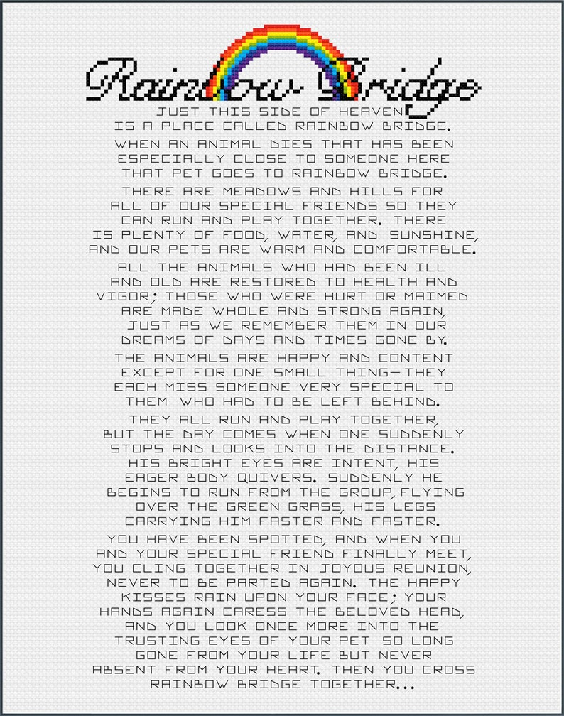 image relating to Rainbow Bridge Poem for Dogs Printable identified as Rainbow Bridge Poem Essay Sentiment for Puppy Reduction or Memorial Canine, Cat, Horse, Fish, Hen -- Instantaneous Electronic PDF Obtain