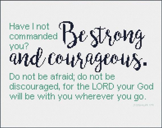 joshua 1 9 bible verse cross stitch pattern be strong etsy