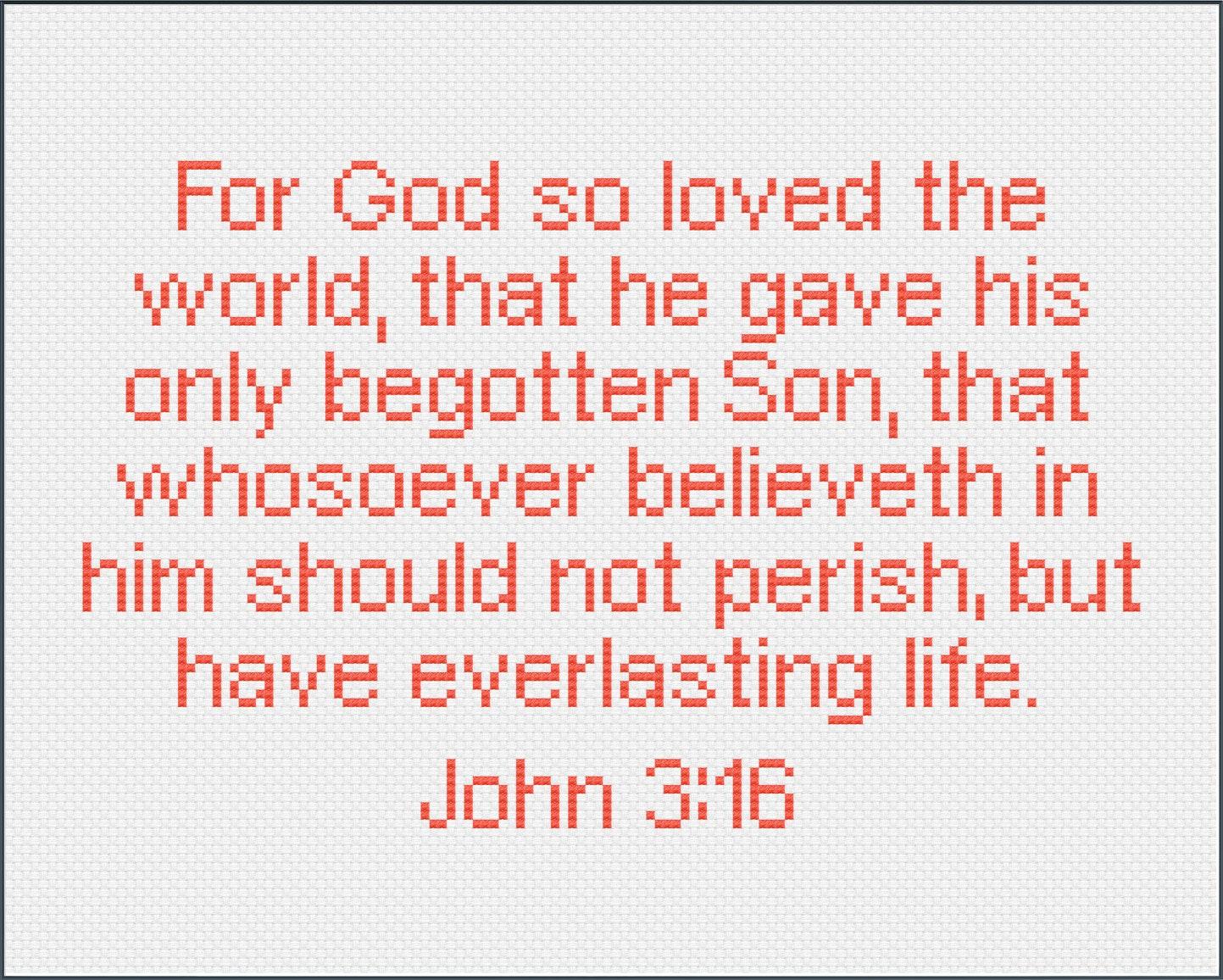 John 3:16 Bible Verse Cross Stitch Pattern For God so | Etsy