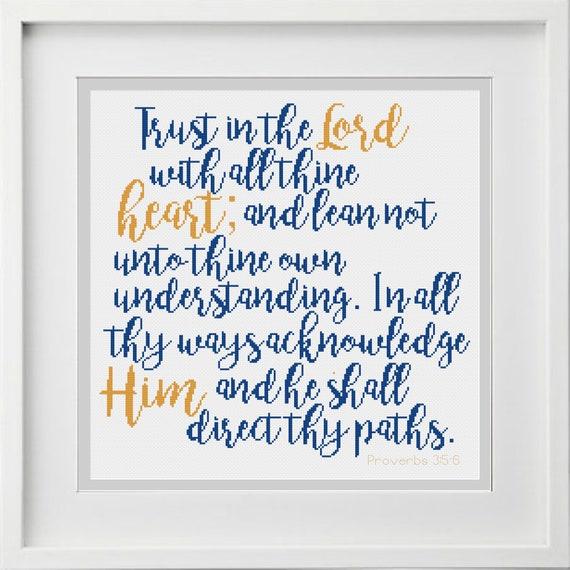 cross stitch chart PROVERBS 3:5-6