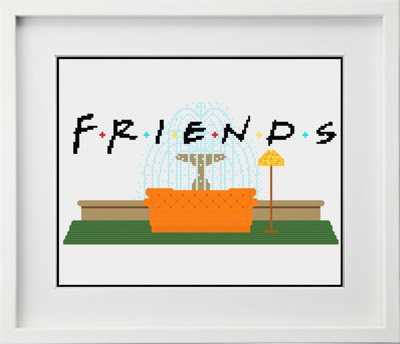 Friends Tv Show Fountain With Couch Cross Stitching Pattern Instant Digital Pdf Download