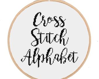 Cross Stitching Alphabet Handwritten Script Font -- Instant Digital PDF Download!