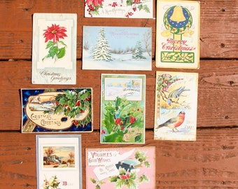9 very old Christmas postcards