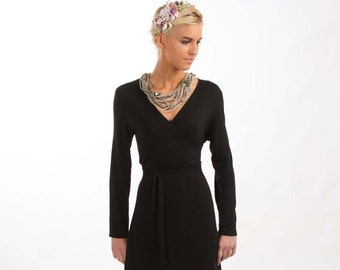 Black Wrap Jersey Dress with 3/4 or Long Sleeves
