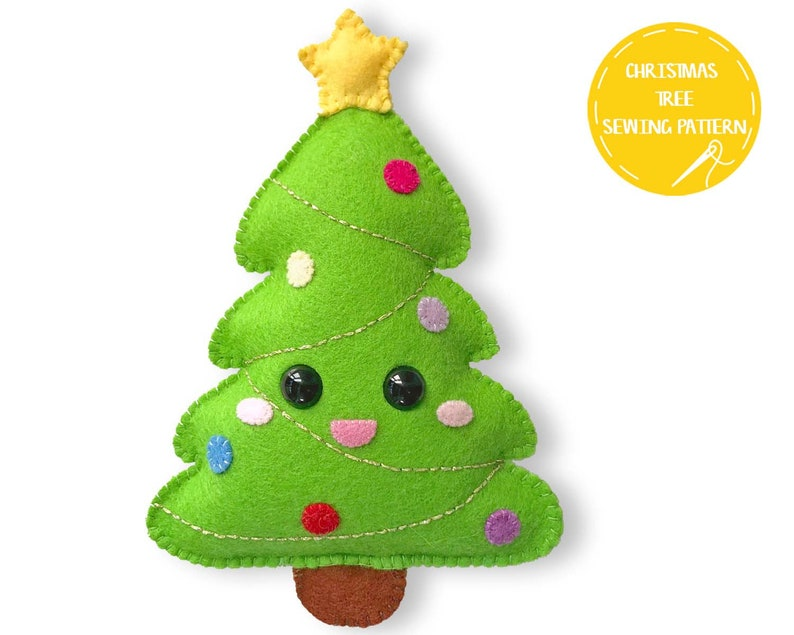 Felt Christmas Tree Pattern.Felt Christmas Tree Pattern Christmas Softie Sewing Pattern Christmas Gift Pdf Pattern Christmas Ornament Kawaii Softie