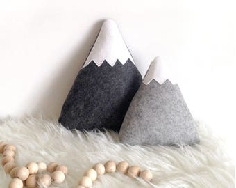 Mountain Pillows, adventure nursery, Woodland Nursery decor, Mountain Nursery Decor, Mountain softies,  teepee accessory, monochrome nursery