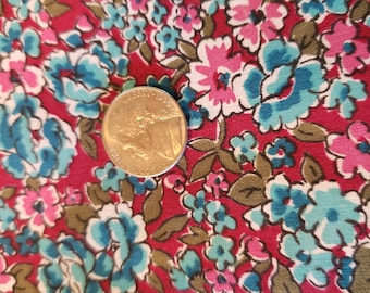 7) Vintage calico teal, blue and rose floral fabric 1 yard