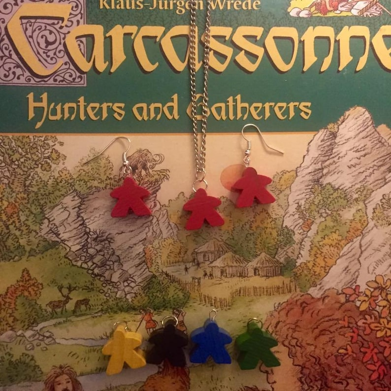 meeple necklace and earrings set Carcassonne gaming