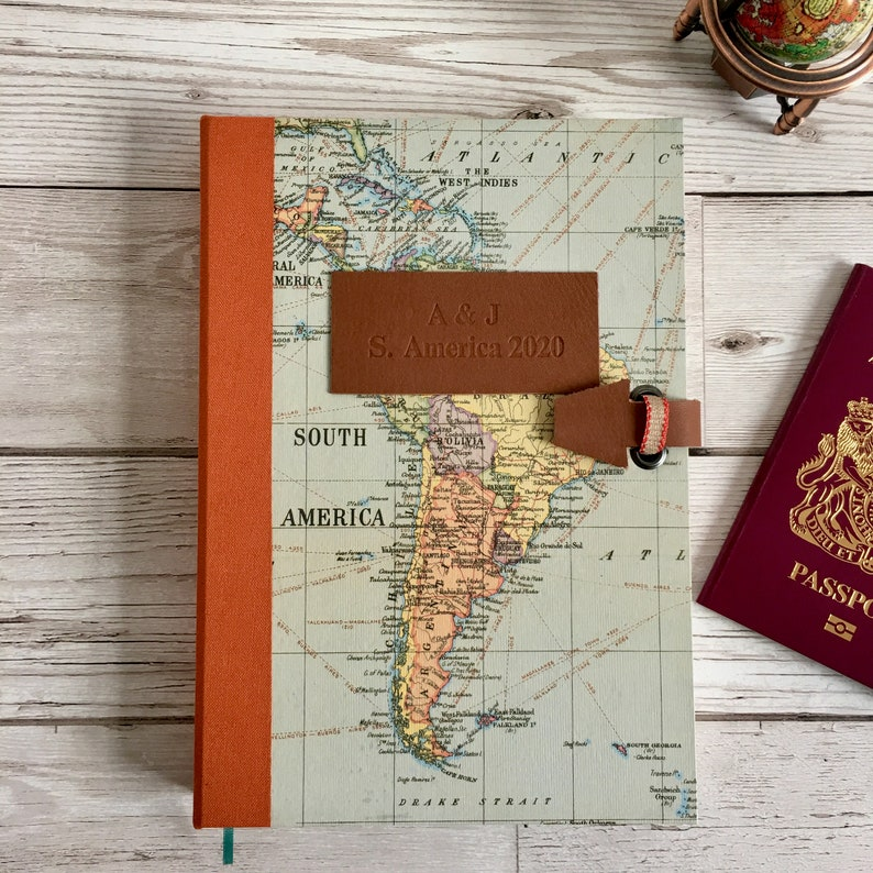 Personalised Travel Map Journal  adventurers gap year gift image 0