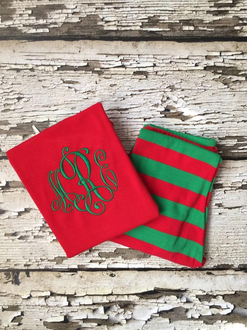 Monogrammed Christmas Pajamas Personalized Christmas PJs Elegant Monogram for a Child