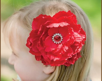 Red Peony Hair Clip  - Red Flower Hair Clip - Red Valentines Flower Hair Clip - Valentines Flower