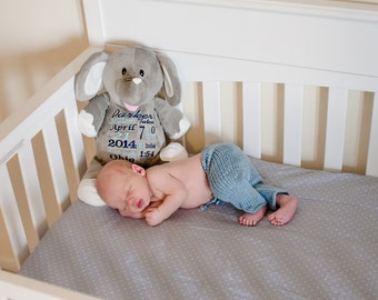 Birth Announcement Stuffed Animal - Embroidered Stuffed Animal - Baby Gift - Birth Gift for Newborn - Baby Photo Prop - Baby Announcement