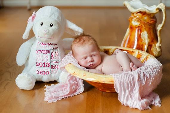 Personalized Stuffed Animal Birth Announcement Stuffed Etsy