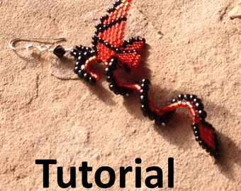 Dragon Earring Tutorial Single Herringbone Technique, Digital Download, 23 Pages of Instruction and Graphs, Make your own Dragon Earrings