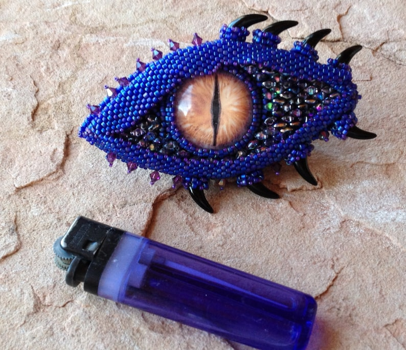 LARP Brooch Festival Wear RPG Attire Gaming Geeks Dragon Brooch Cosplay Jewelry Fantasy Gamers Purple Dragon Eye with Horn Accents