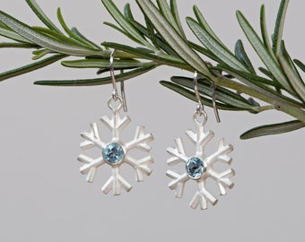 Snowflake Drop Earrings with Blue Topaz  - Silver Snowflakes Christmas Gift
