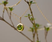 Peridot Gold Necklace - Green Gem Pendant Necklace in 18k Gold
