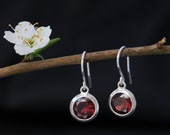 Red Garnet Drop Earrings - Garnet Round Dangle Earrings - Red Gemstone Earrings