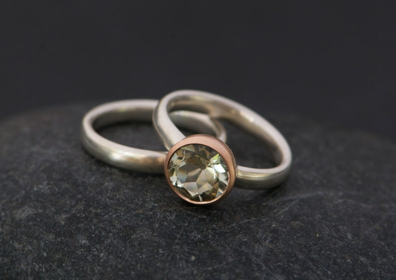 Green Amethyst Engagement Ring And Wedding Band Green Etsy