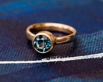 Blue Topaz Engagement Ring in 18K Gold - London Blue Topaz Rose Gold Ring