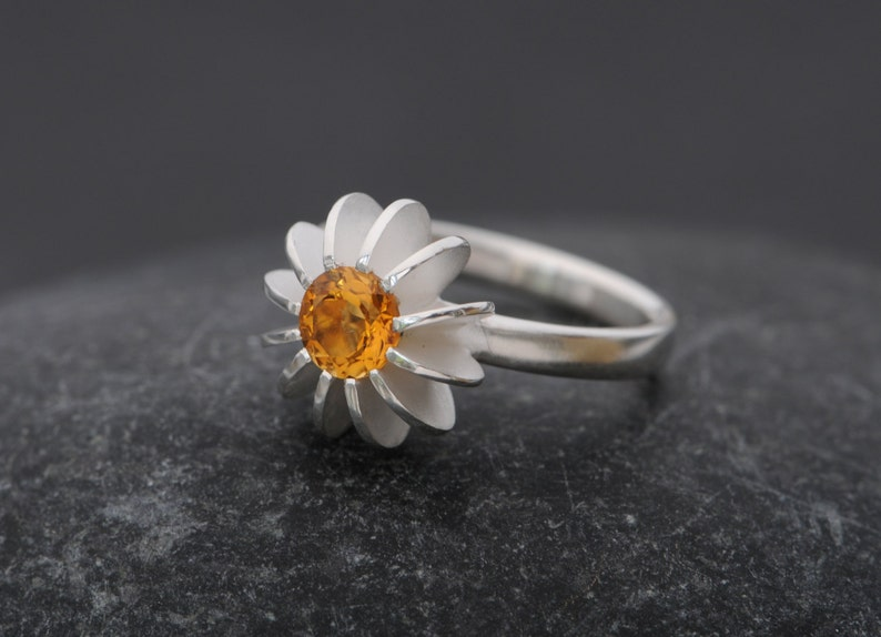 Citrine Ring Sea Urchin Design in Silver  Hand Made to Order Citrine