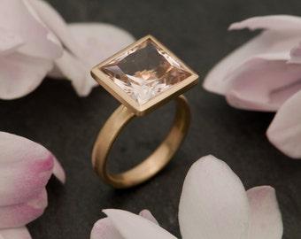 Square Morganite Ring in 198K Rose Gold - Princess Cut Morganite Ring Made to order