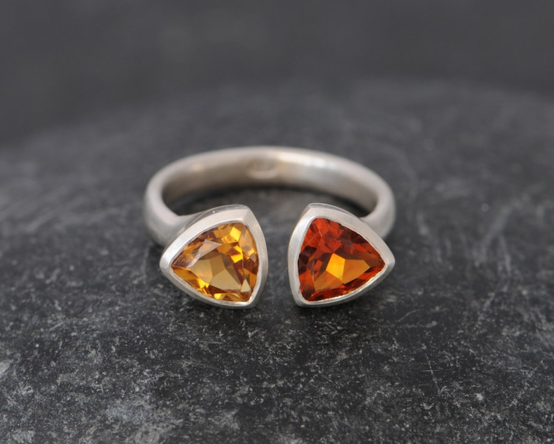 Madiera Citrine Double Trillion Ring in Silver  Two Gemstone image 0