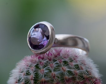 Big Purple Amethyst Ring - Purple Amethyst Halo Ring Silver