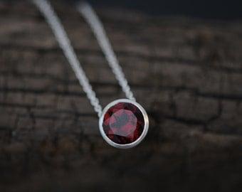 Rhodolite garnet pendant necklace pink gem silver necklace red garnet pendant necklace garnet silver necklace red gemstone necklace red pendant necklace mozeypictures Gallery