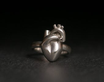 Anatomical Heart Ring - Silver Heart Ring - Human Heart Ring in Sterling Silver - Anatomical Heart Ring - Made to Order Ring - Free Shipping