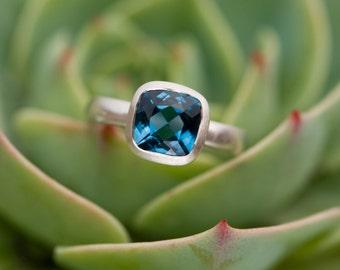 Deep Blue Topaz Ring Cushion Cut in Silver - Square Blue Topaz Ring