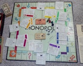 Antique Parker Brothers 1946 Popular Edition Monopoly 1936 Game Wooden Pieces Money Real Estate Cards