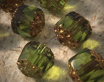 8mm...Olive Grn/Gold Cathedral Picasso glass beads ...10 pcs./ #19