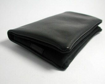 """Tobacco pouch, Wallet, Mobile Phone pouch """"black leather"""""""