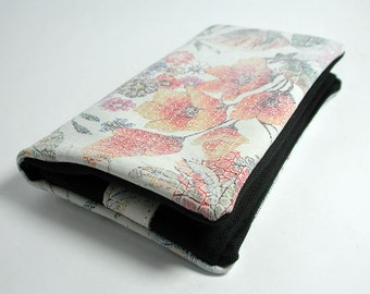 """Tobacco pouch, Wallet, Mobile Phone pouch """"vintage flowers leather"""""""