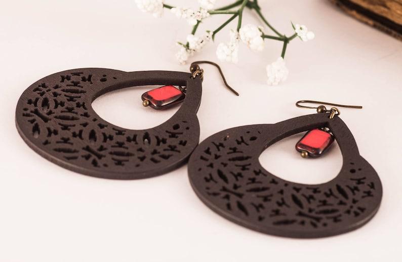 Spanish Earrings Black Earrings Bohemian Earrings Big Wood Earrings Spanish Style Chandelier Earrings Gift For Her Boho Chic Earrings Woman