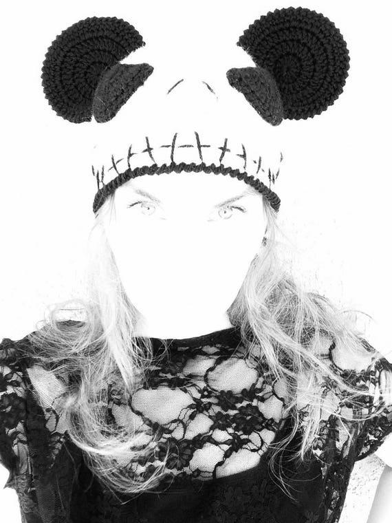 Cráneo blanco de Jack Skellington de ganchillo gorro Halloween