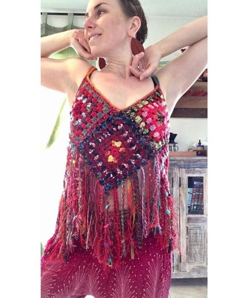 Fringe Crop Top Free Domestic Shipping red granny square tank top boho hippie festival women crochet retro READY TO SHIP
