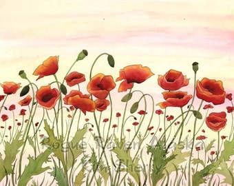 Print of 'Large Field of Poppies' - bright oranges, peaches and yellow in this lovely print.