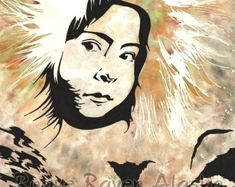 Her Gaze - Limited Edition Print of Portrait of Young Native Alaskan Girl in Fur