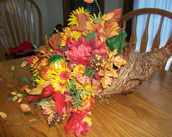 Thanksgiving Cornucopia Floral Centerpiece