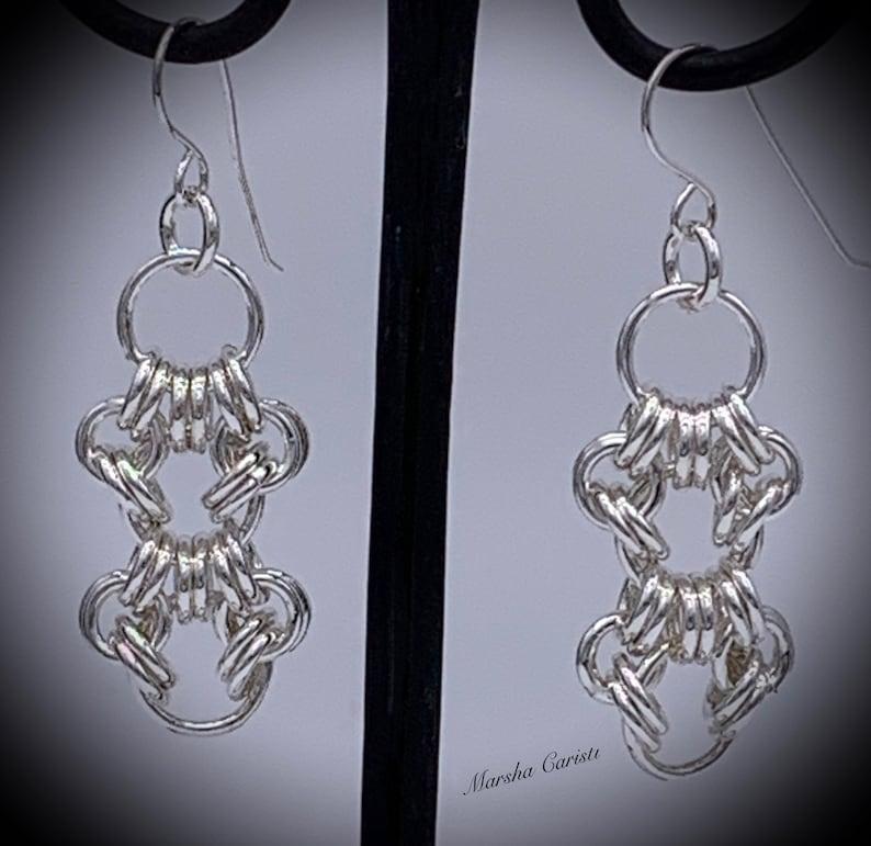 925 Women Sterling Silver Girls Earrings Danglers Drops Chain Maille