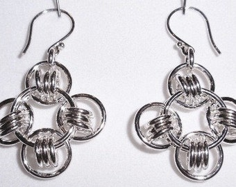 Chain Maille Sterling Silver Earrings
