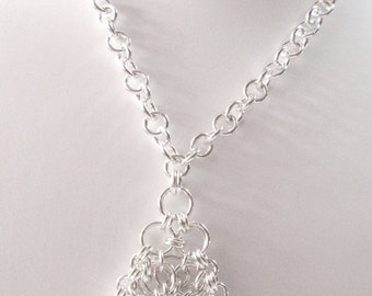 Chain Maille Sterling Silver Pendant Necklace