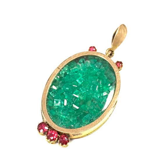 FINAL SALE Vintage 9 ct gold glass locket 109% nat