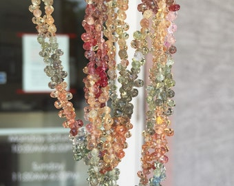 Sold by 8 inches strand natural aaa quality mixed color sapphire drops  2x4-3x5 mm