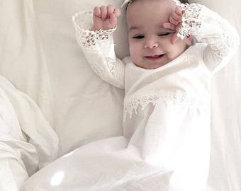 Christening dress for little girl  - baptism gown - Christening gown -A-line gown #BBB