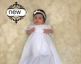 f9e3c9582 Christening gown for girls , Girls Baptism dress, baby girl's lace baptism  gown, white long Blessing dress