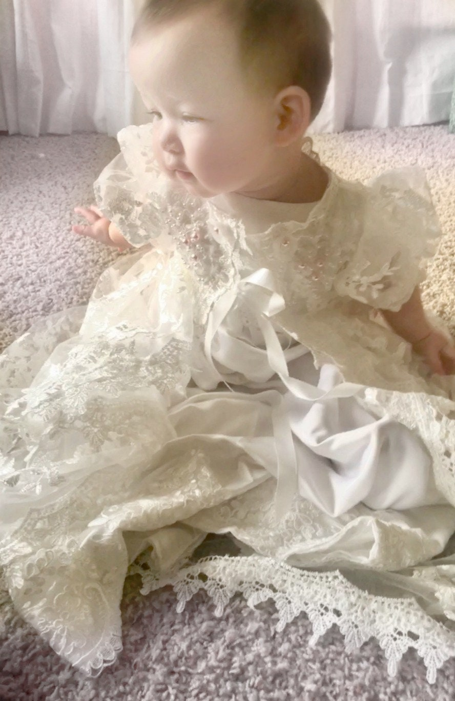 Baptism dress for baby Girl --Christening gown , light ivory,lace ...